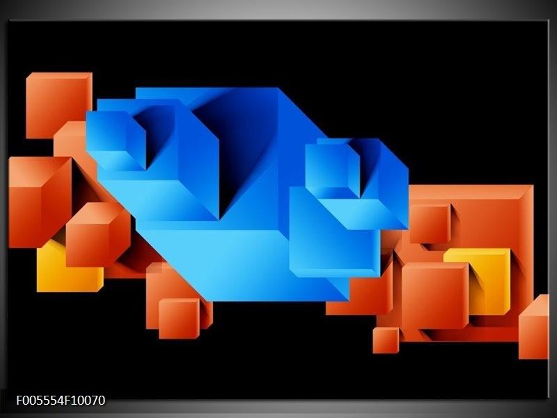 Glas schilderij Art   Blauw, Oranje, Zwart