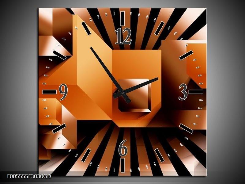 Wandklok op Glas Art | Kleur: Oranje, Zwart, Wit | F005555CGD