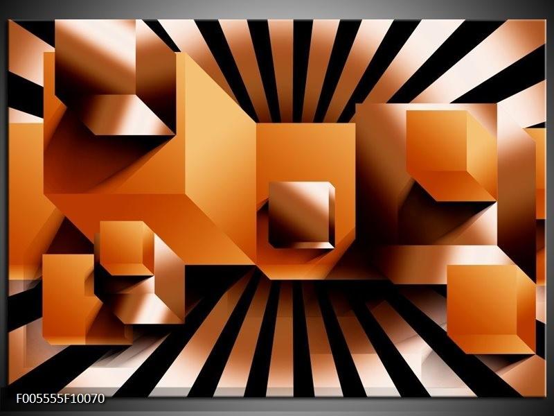 Glas schilderij Art   Oranje, Zwart, Wit