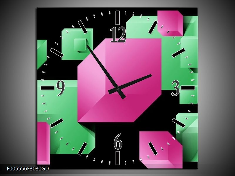 Wandklok op Glas Art | Kleur: Groen, Zwart, Roze | F005556CGD