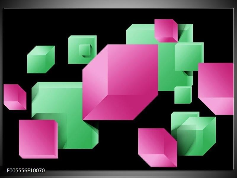 Glas schilderij Art | Groen, Zwart, Roze