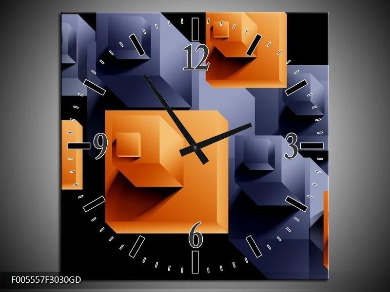 Wandklok op Glas Art | Kleur: Oranje, Zwart, Grijs | F005557CGD