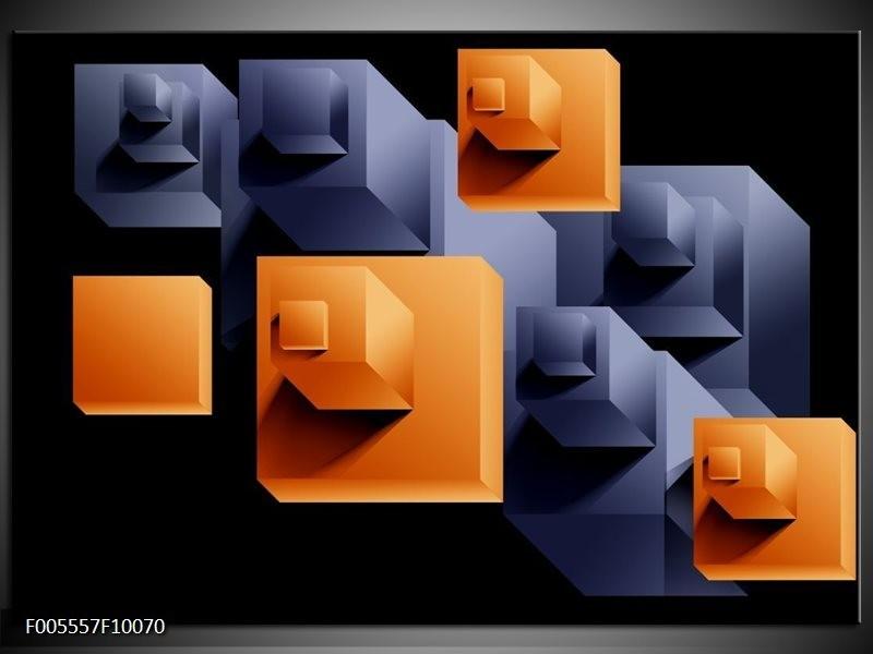 Glas schilderij Art | Oranje, Zwart, Grijs