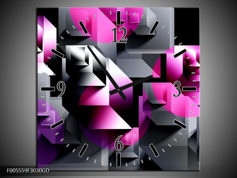 Wandklok op Glas Art | Kleur: Grijs, Roze, Paars | F005559CGD