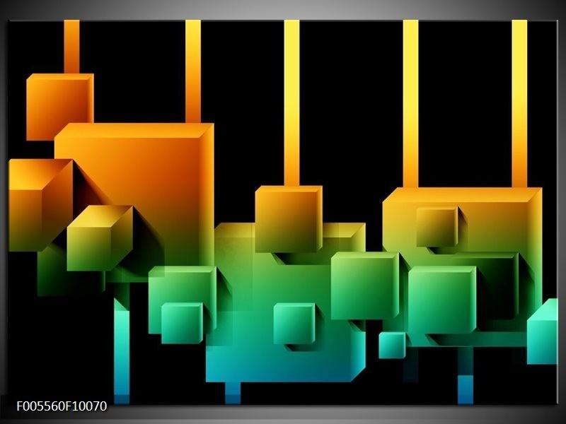 Glas schilderij Art | Zwart, Groen, Oranje