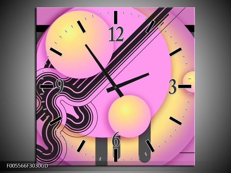 Wandklok op Glas Art | Kleur: Paars, Zwart, Geel | F005566CGD