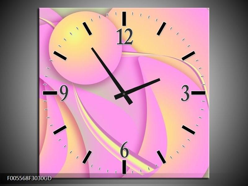 Wandklok op Glas Art | Kleur: Roze, Groen, Geel | F005568CGD