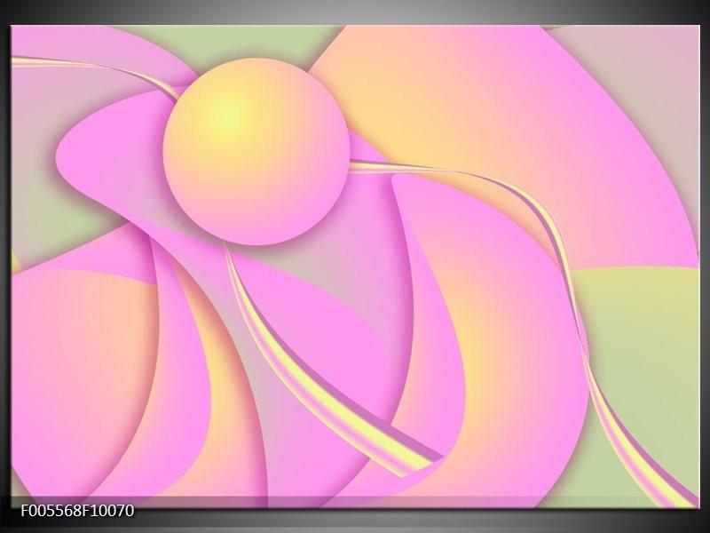 Glas schilderij Art | Roze, Groen, Geel