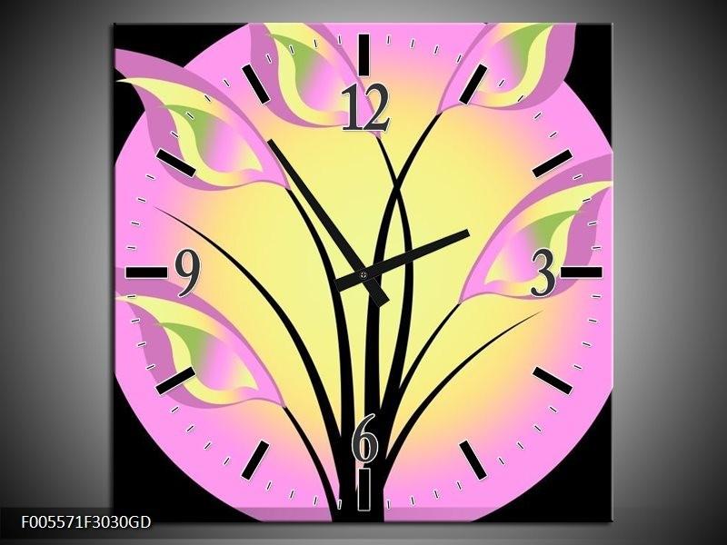 Wandklok op Glas Art | Kleur: Zwart, Paars, Geel | F005571CGD