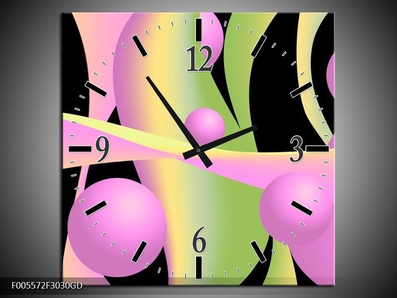 Wandklok op Glas Art   Kleur: Zwart, Groen, Paars   F005572CGD