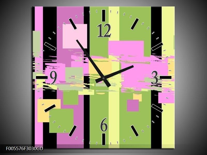 Wandklok op Glas Art | Kleur: Groen, Zwart, Paars | F005576CGD