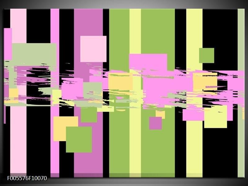 Glas schilderij Art | Groen, Zwart, Paars