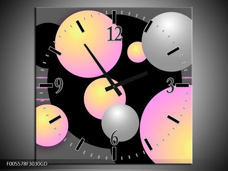 Wandklok op Glas Art | Kleur: Grijs, Zwart, Paars | F005578CGD