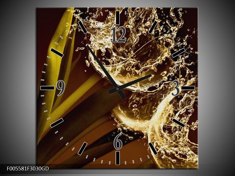 Wandklok op Glas Art | Kleur: Bruin, Wit | F005581CGD