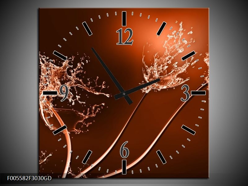 Wandklok op Glas Art   Kleur: Bruin, Wit   F005582CGD