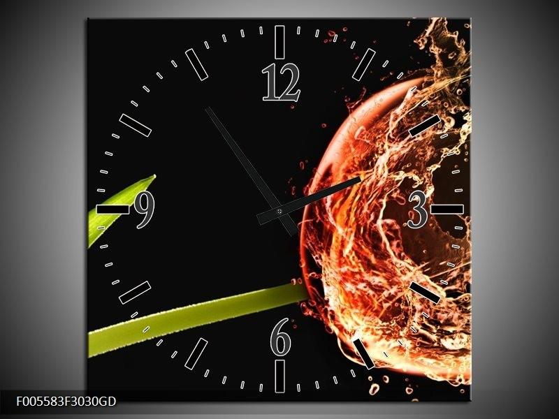 Wandklok op Glas Tulp | Kleur: Zwart, Groen, Rood | F005583CGD