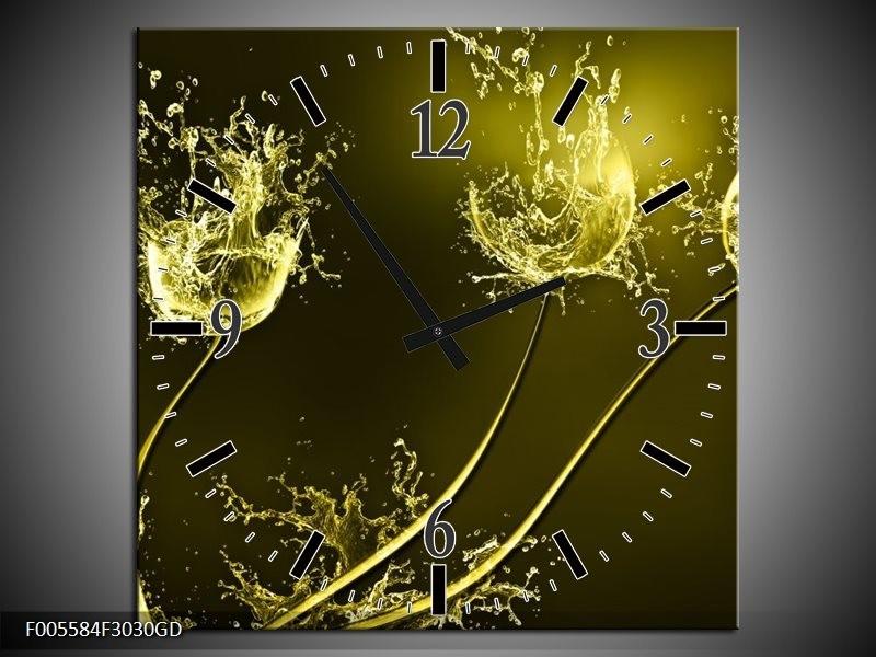 Wandklok op Glas Tulp | Kleur: Groen, Geel | F005584CGD