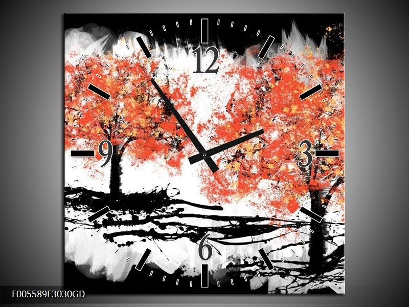 Wandklok op Glas Bomen | Kleur: Oranje, Zwart, Wit | F005589CGD