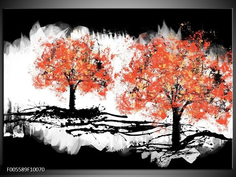 Glas schilderij Bomen | Oranje, Zwart, Wit