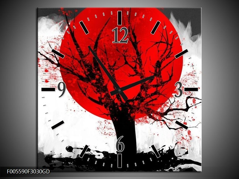 Wandklok op Glas Bomen   Kleur: Rood, Wit, Zwart   F005590CGD