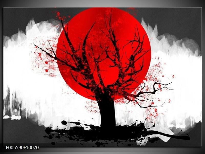 Glas schilderij Bomen   Rood, Wit, Zwart