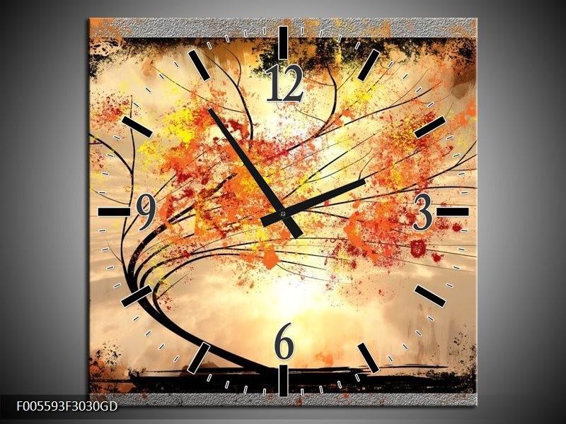 Wandklok op Glas Bomen   Kleur: Oranje, Grijs, Zwart   F005593CGD
