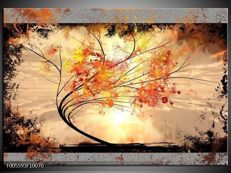 Glas schilderij Bomen   Oranje, Grijs, Zwart