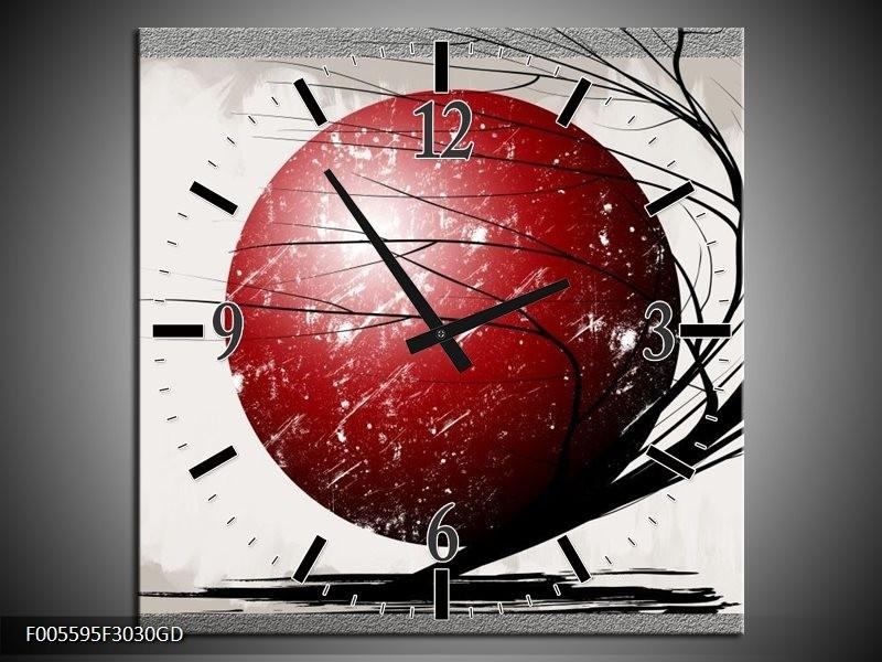 Wandklok op Glas Art | Kleur: Rood, Zwart, Grijs | F005595CGD
