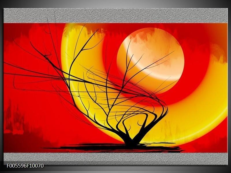 Glas schilderij Boom | Rood, Geel, Grijs