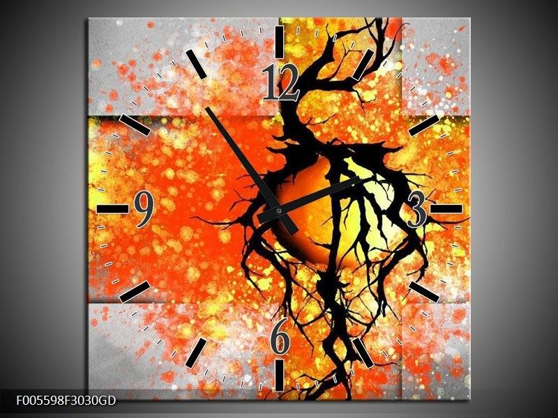 Wandklok op Glas Boom | Kleur: Oranje, Grijs, Zwart | F005598CGD