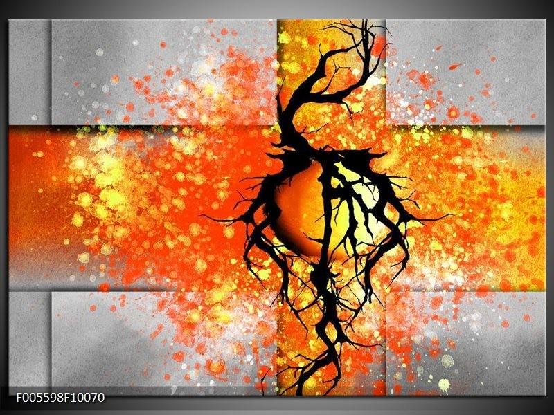Glas schilderij Boom   Oranje, Grijs, Zwart
