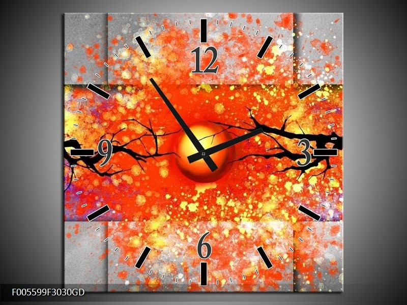 Wandklok op Glas Boom   Kleur: Grijs, Rood, Oranje   F005599CGD