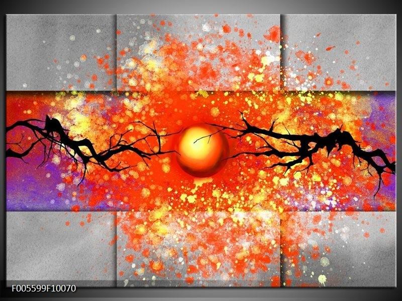 Glas schilderij Boom   Grijs, Rood, Oranje