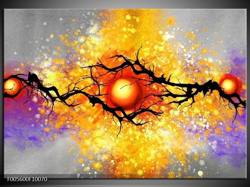 Glas schilderij Boom   Grijs, Paars, Oranje
