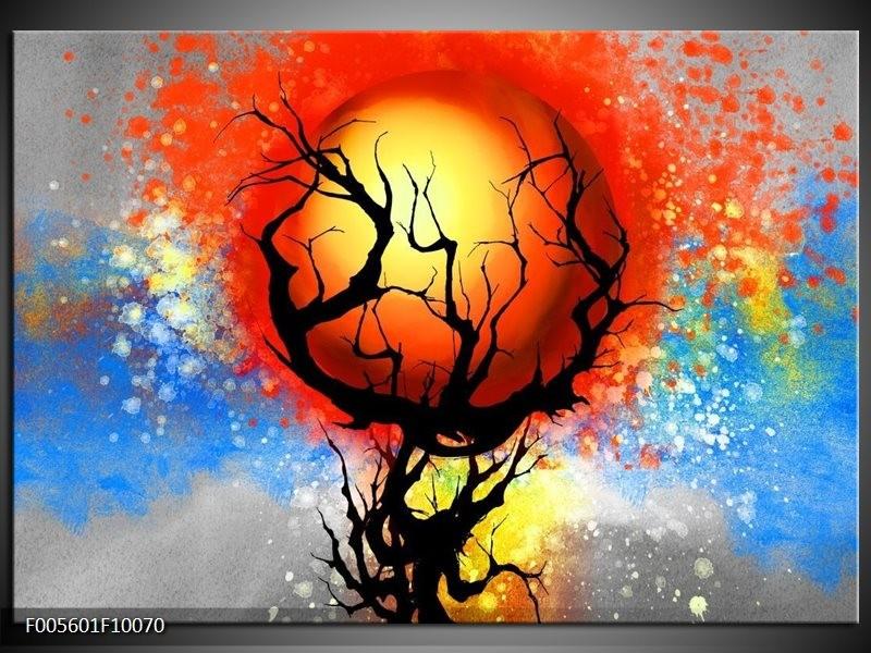 Glas schilderij Boom | Blauw, Zwart, Rood
