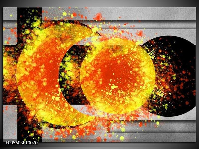 Glas schilderij Art | Geel, Grijs, Zwart