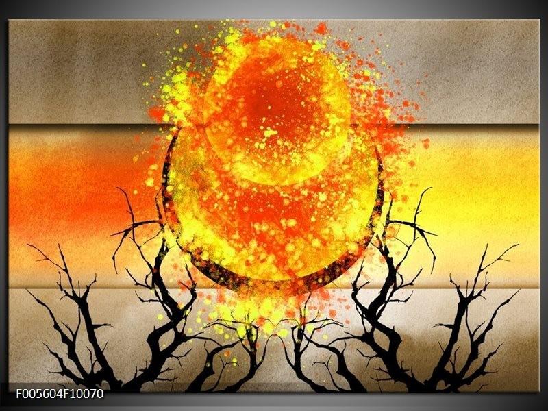 Glas schilderij Art | Grijs, Oranje, Geel