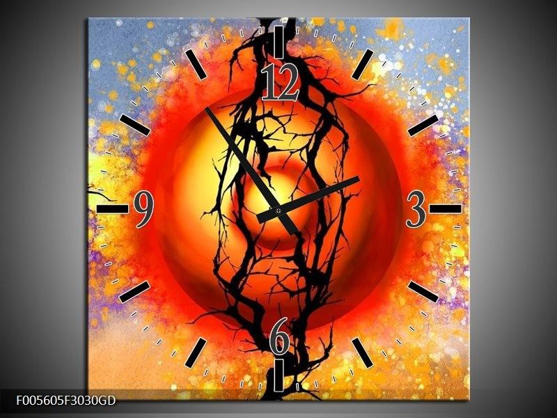 Wandklok op Glas Art | Kleur: Rood, Zwart, Paars | F005605CGD