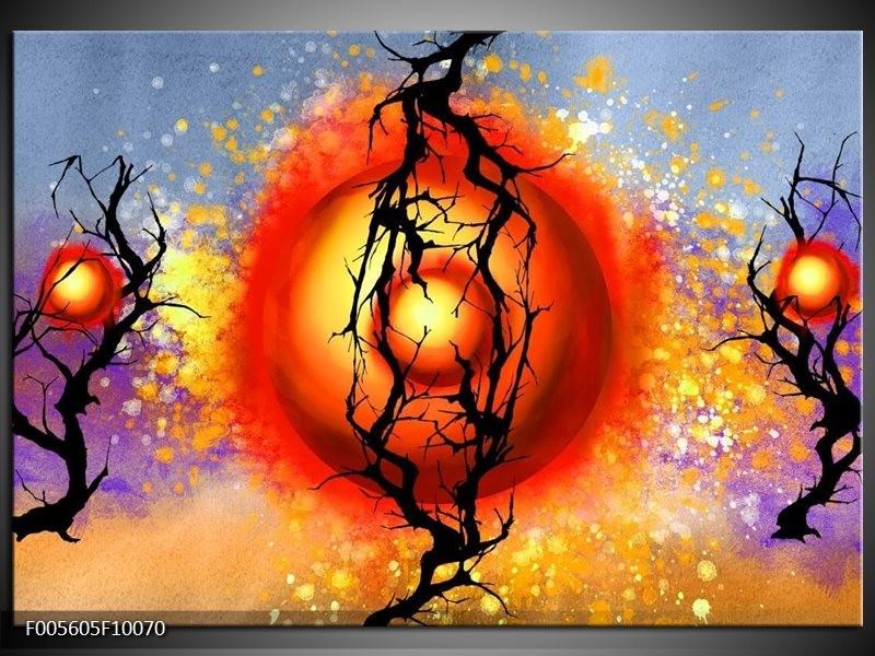 Glas schilderij Art | Rood, Zwart, Paars