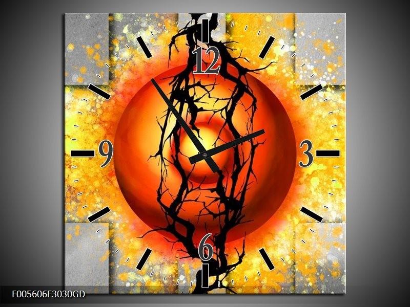 Wandklok op Glas Art | Kleur: Geel, Grijs, Rood | F005606CGD