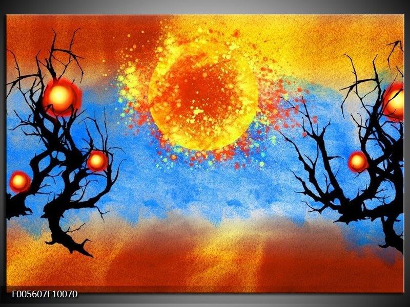 Glas schilderij Art | Blauw, Oranje, Zwart