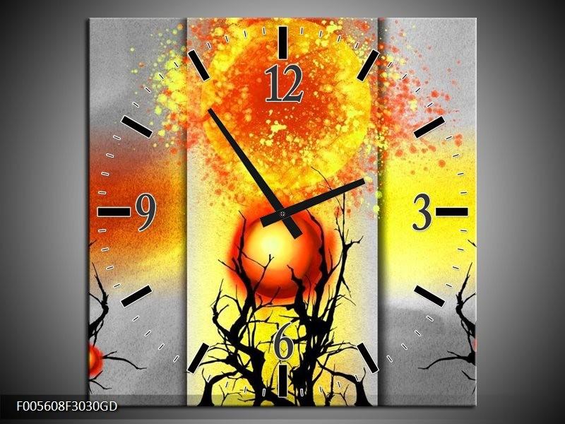 Wandklok op Glas Art | Kleur: Geel, Grijs, Rood | F005608CGD