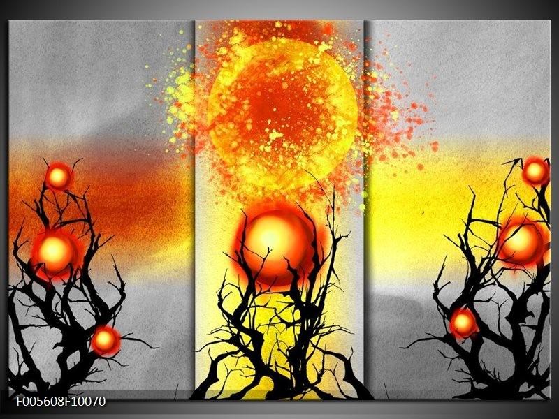Glas schilderij Art | Geel, Grijs, Rood