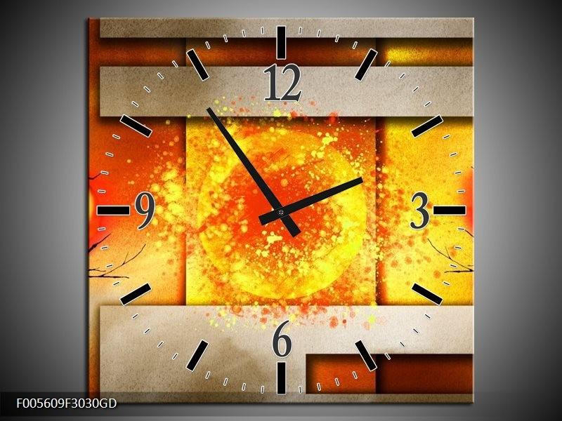 Wandklok op Glas Art | Kleur: Geel, Grijs, Rood | F005609CGD
