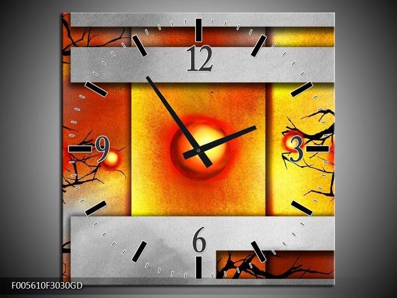 Wandklok op Glas Art | Kleur: Grijs, Zwart, Oranje | F005610CGD