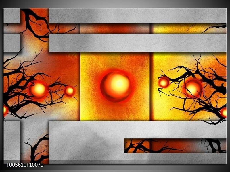 Glas schilderij Art | Grijs, Zwart, Oranje