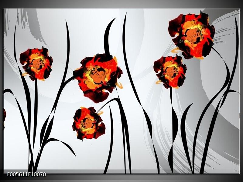 Glas schilderij Tulp | Grijs, Oranje, Zwart