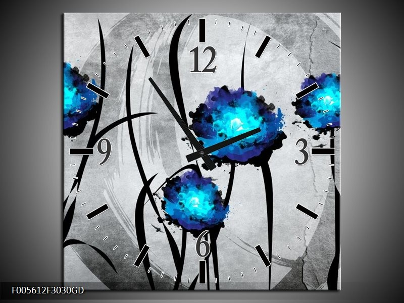 Wandklok op Glas Tulp | Kleur: Grijs, Blauw, Zwart | F005612CGD