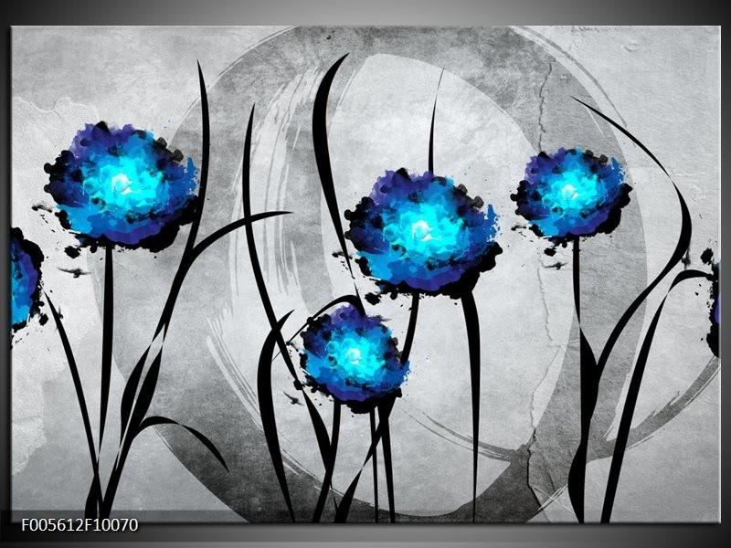 Glas schilderij Tulp | Grijs, Blauw, Zwart