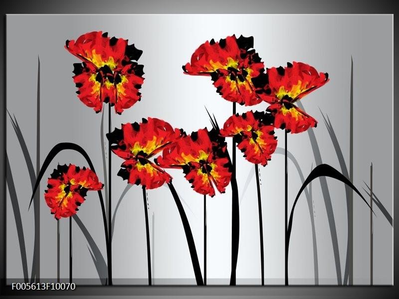 Glas schilderij Tulp | Oranje, Zwart, Grijs